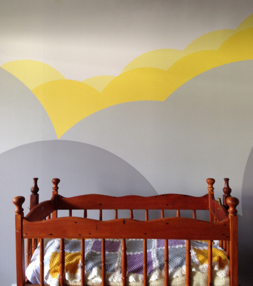 nursery, cloud feature wall, painted clouds, clouds nursery, cloud wall art, children's room