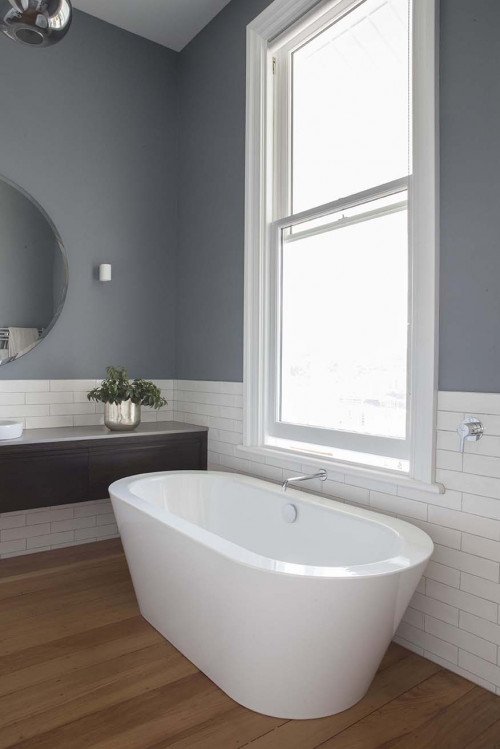 grey bathroom, resene raven, white subway tiles, matai, timber floors, freestanding bath