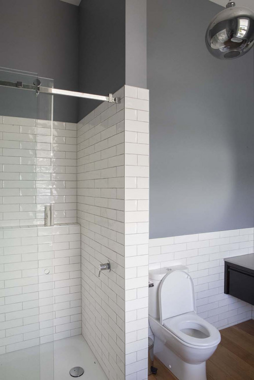 grey bathroom, resene raven, white subway tiles, matai, timber floors