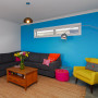 blue paint, living room, lounge bold colours, feature wall, bright paint