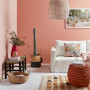 pink lounge, pink living room, pink interior, pink feature wall, living room, resene just dance