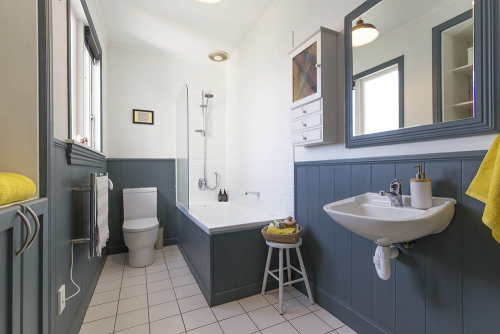 bathroom, blue, tongue and groove, dado