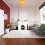 Living room, lounge, red, painted bricks, painted fireplace, paint ideas, paint trends