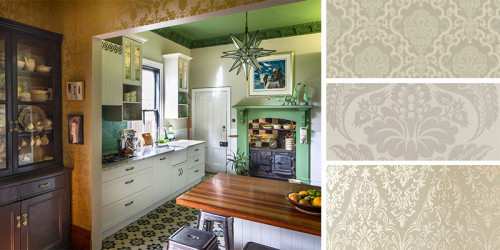 green ceiling, green kitchen, kitchen ideas, wallpaper ideas, dining room inspiration, interior idea