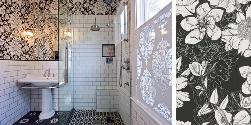black and white bathroom, bathroom inspiration, bathroom ideas, wallpaper inspiration