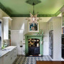 green kitchen, interior design, green interior, green ceiling, kitchen ideas, kitchen design