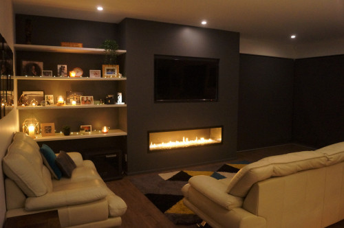 living room inspiration, dark interior ideas, fireplace ideas, grey interior ideas, fireplace design