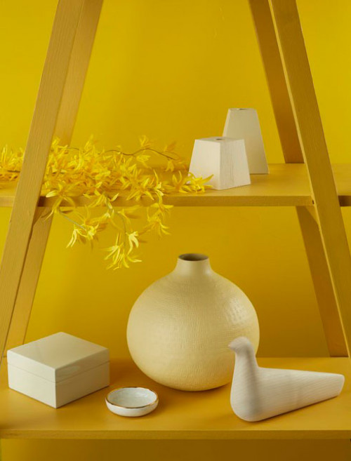 yellow colour palette, shelving display, interior styling, yellow paint, tone, Resene Galliano