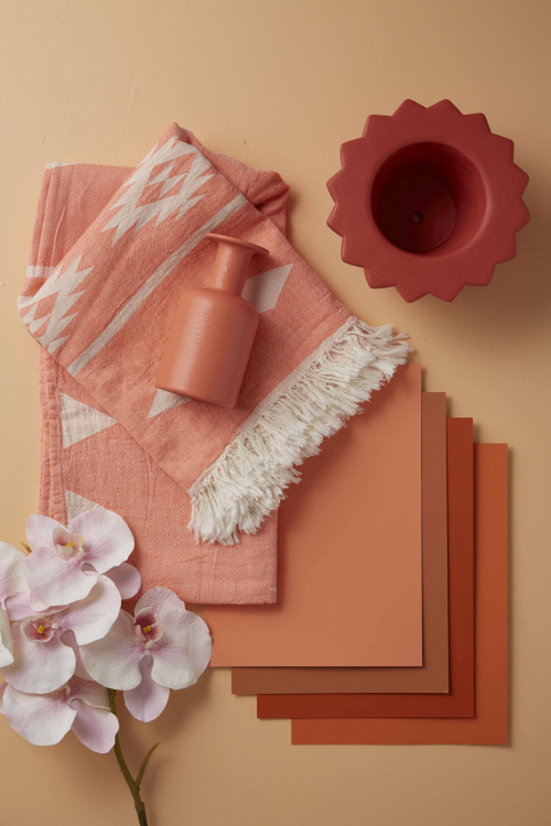 styling ideas, flatlay, design ideas, orange, warm tones, paint swatches, pink, moodboard