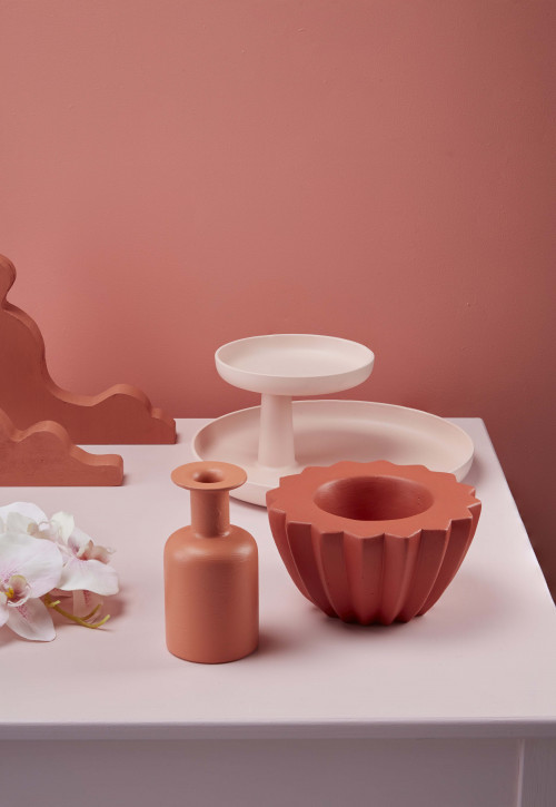 pink colour palette, table display, interior styling, pink paint, Resene Glorious, table, tone