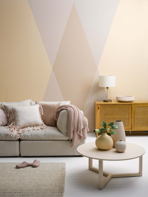 lounge, living room, feature wall, geometric painted pattern, geometric wall, pink, orange