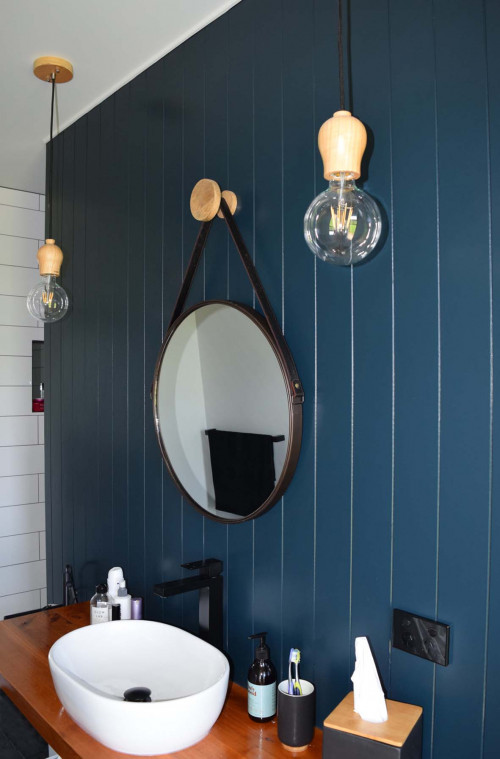 bathroom, ensuite, blue bathroom, tounge and groove walls, blue feature wall