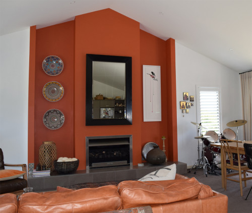 living room inspiration, feature wall ideas, orange feature wall, orange interior ideas, resene