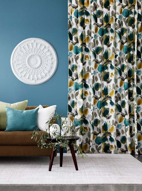 lounge, living room, blue lounge, blue living room, floral curtains, patterned curtains