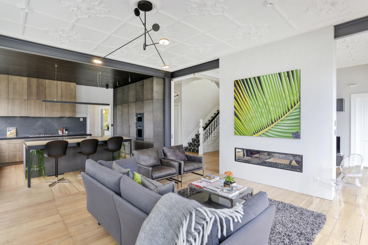 neutral living room, neutral lounge, black ceiling, grey living room, grey lounge, resene dark ebony