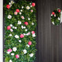 floral feature wall, entranceway, floral entranceway, flower wall, black entranceway, monochromatic