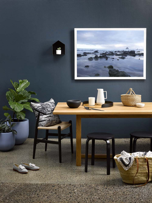 blue walls, blue exterior, gather magazine, amber armitage, resene blues, resene blue, dining room