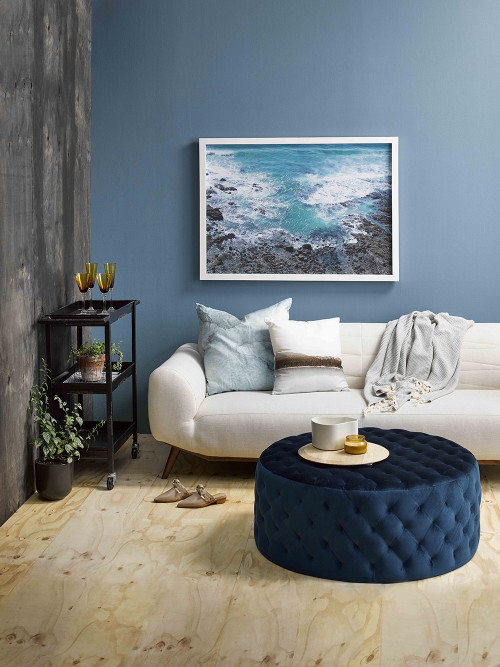 blue walls, blue exterior, gather magazine, amber armitage, resene blues, resene blue, lounge