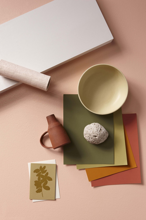 moodboard, interior, bold, rose, orange, terracotta, paint swatches