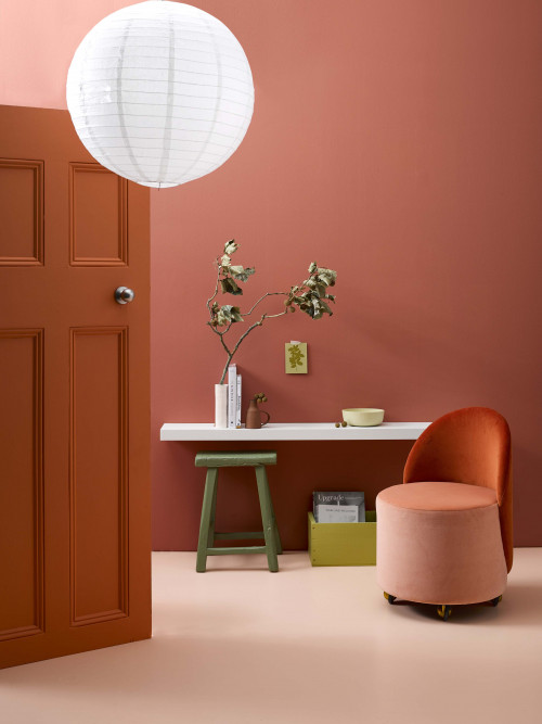 Douglas and Bec, interior, bold, tonal, rose, orange, paint, terracotta, Resene Apple Blossom