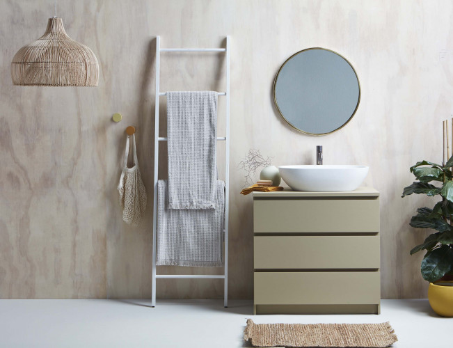 bathroom, plywood feature, plywood interior, plywood bathroom, neutral bathroom, scandi bathroom