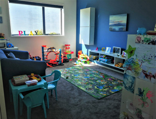play room ideas, play room inspiration, blue play room, blue feature wall, kids room inspiration