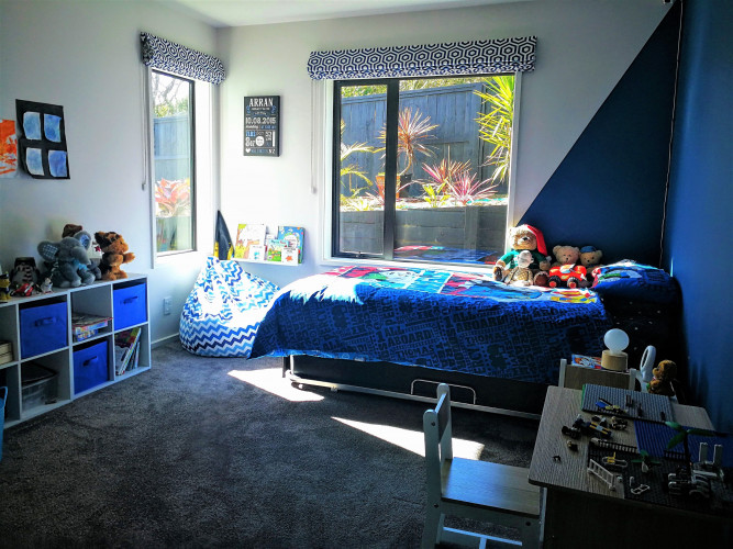 kids bedroom inspiration, kids bedroom ideas, geometric interior, blue bedroom ideas, feature wall