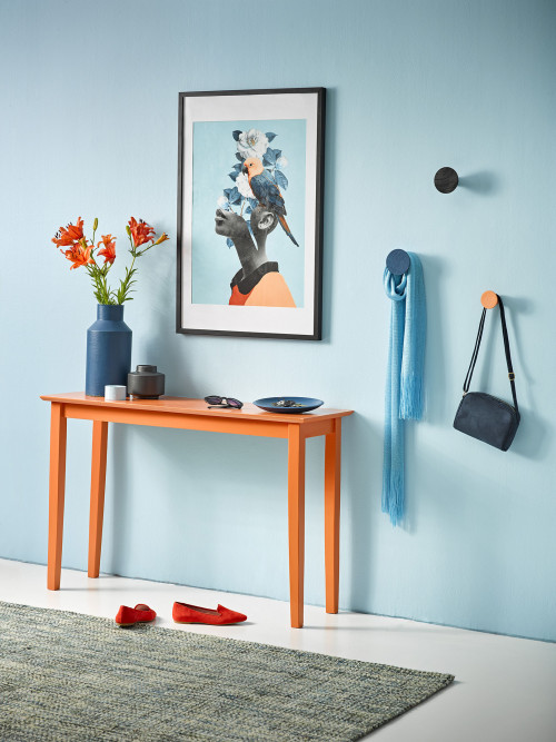 console table ideas, hallway styling, interior design, interior ideas, blue interior ideas, resene