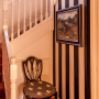 Painted stripes, stairwell, paint ideas, paint trends