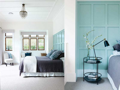 bedroom, master bedroom, blue bedroom, white bedroom, paneled wall, blue feature wall