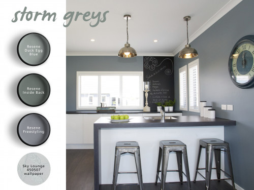 grey kitchen, grey paint, blue kitchen, interior, stormy greys, home decorating ideas