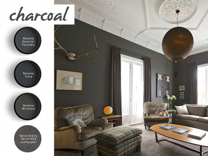 dark grey lounge, charcoal paint, living room, shades of grey, interior, home decorating ideas