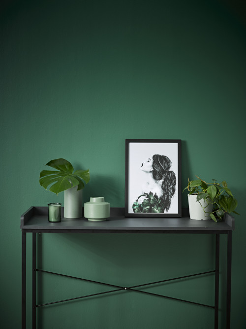 green feature wall, study, office, nook, resene mother nature, tonal greens, bold green