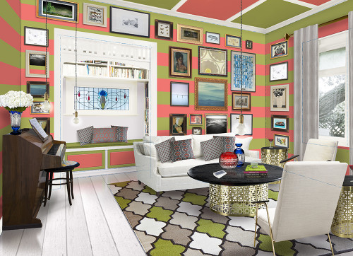 villa, lounge, living room, bright living room, striped walls, pink and green stripes