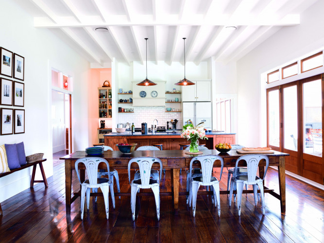 dining room, kitchen, white kitchen, white dining room, open plan living, cottage, heritage