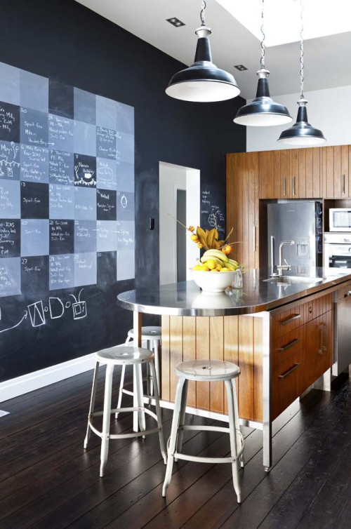 kitchen, blackboard paint, kitchen island, calendar wall, resene paint, interior design