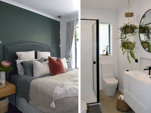 bedroom, bathroom, white bathroom, green bedroom, green feature wall, resene black white