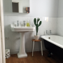 bathroom, white, black, art deco, paint ideas, paint trends