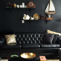 lounge, living room, black, art deco, feature wall, paint ideas