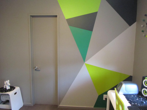 geometric painted wall, office, grey study, shades of green paint, interior design