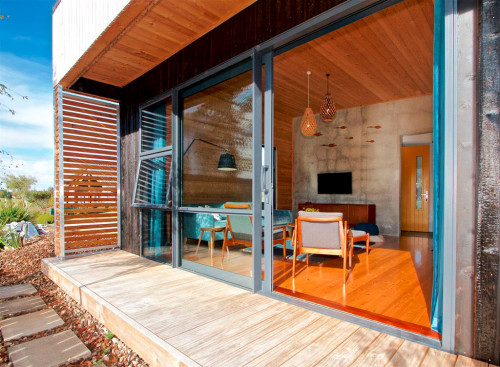 holiday cabin, deck, timber, exterior, resene foundry, indoor outdoor flow