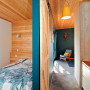 holiday cabin, timber walls, timber ceiling, resene elephant, bedroom, hallway