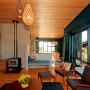 timber ceiling, timber floors, holiday cabin, feature wall, living room, lounge
