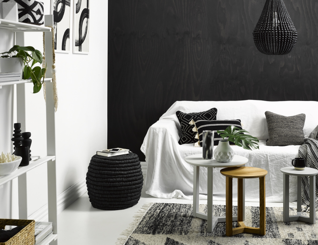 living room, black, feature wall, texture, contrast
