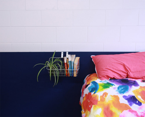 diy, dark blue paint, indigo headboard, bedroom, make your own bedhead