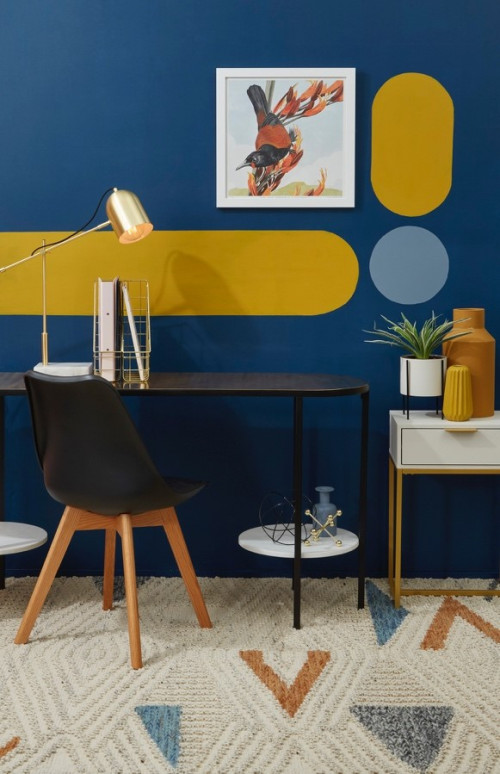 blue, mustard, gold, study, home office, blue home office, resene wishing well, resene cleopatra