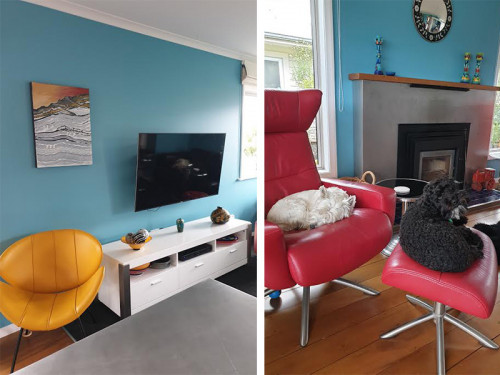 living room, lounge, blue lounge, blue living room, blue interior, blue feature wall, red chair