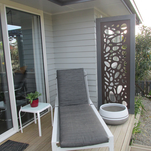 outdoor living, house exterior, grey exterior, grey house, deck, resene delta, grey weatherboards