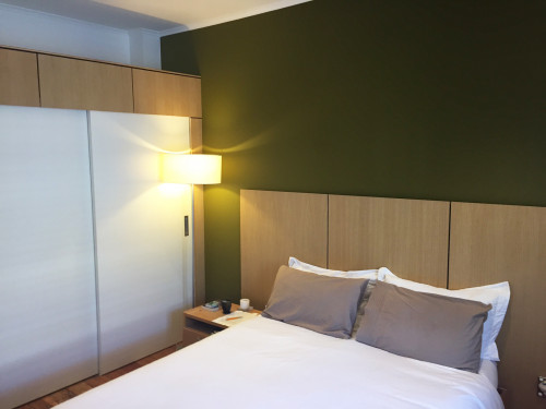 bedroom, green bedroom, green feature wall, timber bedhead, custom bedhead, contemporary bedroom