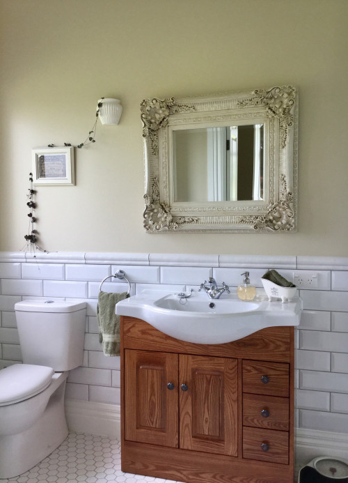 bathroom, white, neutrals, french provincial